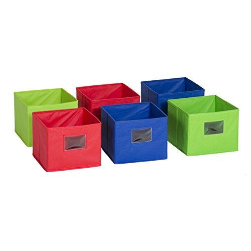 Multicolored Fabric Bins Set of 6