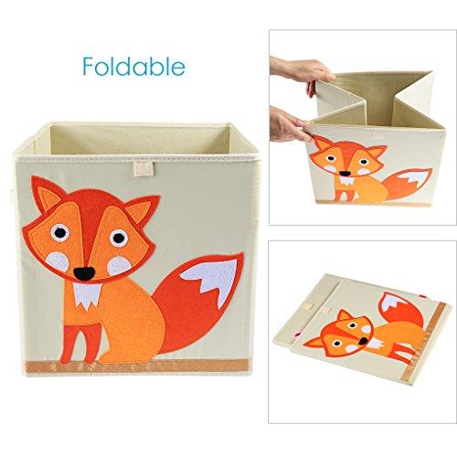 Canvas Storage Box NEWSTYLE Foldable Canvas Storage Bin 13 inch Toy Cube Bin Large Nursery and Toy Organizer Fox