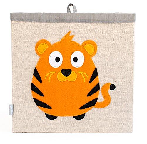 Grey Bee Animal Theme Canvas Storage Bin Hamper Box for Kids Orange- Tiger