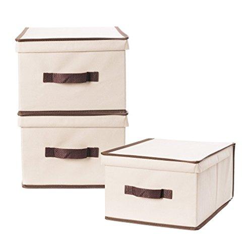StorageManiac 3-Pack Large Foldable Polyester Canvas Storage Box Convenient Storage Bin with Lid