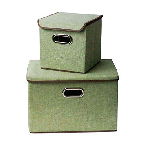 2 Pcs Foldable Linen Storage Box With Lid Set Green
