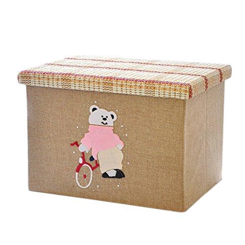 RayLineDo 2X28L Foldable Linen Storage Box Clothes Blanket Closet Sweater Organizer Cartoon Design Home Docor Box