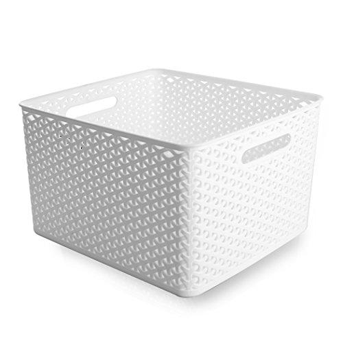 BINO T-Weave Woven Plastic Storage Basket Large White