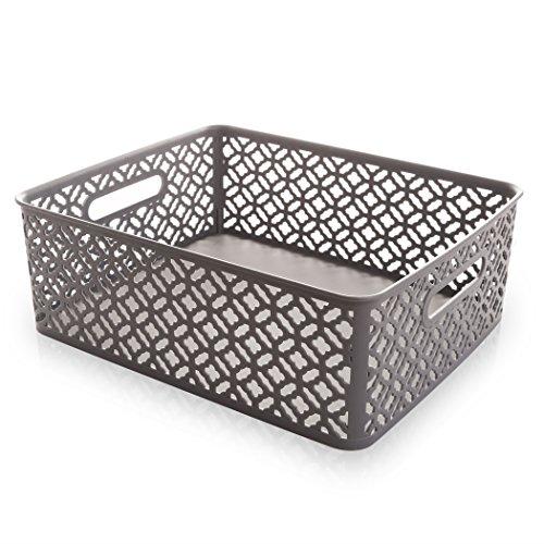 BINO Woven Plastic Storage Basket Large Grey