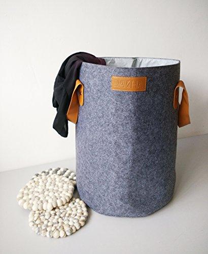 Danha Extra Large Collapsible Felt Laundry Basket - Home Storage Baskets with PU Handle for organizing Baby Kids Toys Clothing  Grey Nursery Decor