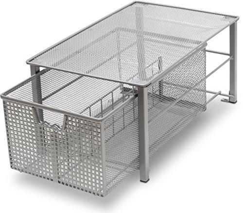 DecoBros Mesh Cabinet Basket Organizer Silver Large - 10 x 158 x 75