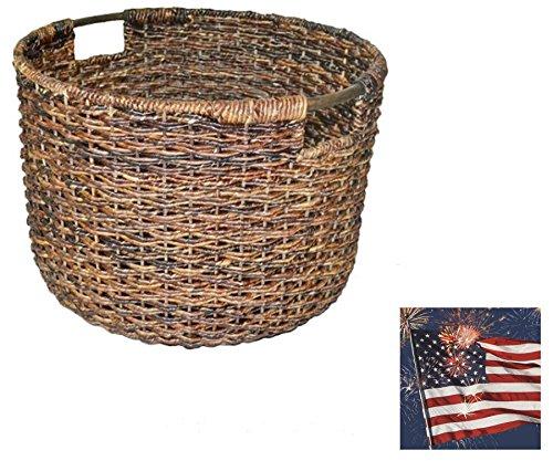 Wicker Large Round Basket Dark Brown - Large baskets Baskets for storage Laundry Baskets Decorative Hampers Shelf baskets - Threshold