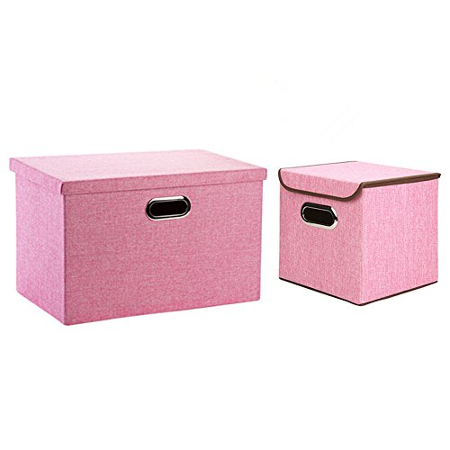 Homespace 2pcsset Foldable Non-Woven Storage Box Clothes Underwear Blanket Books Toys Storage Bins Sundries Household Products Storage Case Pink