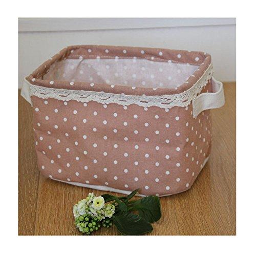 Square Fabric Storage Basket Liner Shelf Baskets Foldable Storage Bins Storage Cube with Polka Dots Storage Bin Toys Desk Organiser for Makeup Toys pink