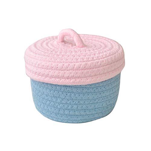 Fieans Cotton Rope Storage Basket with Lid Mini Woven Storage Bins Nursery Hamper Organizer for Shelf Desk - PinkBlue