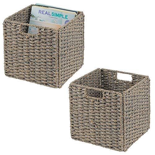 mDesign Natural Woven Seagrass Closet Storage Organizer Basket Bin - Collapsible - for Cube Furniture Shelving in Closet Bedroom Bathroom Entryway Office - 105 High 2 Pack - Gray Wash