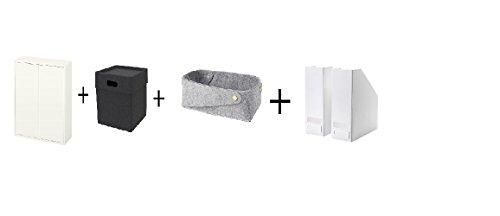 IKEA Cabinet with 2 doors and 2 shelves white Box dark grayBasketMagazine file white