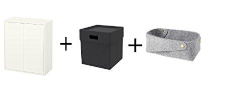 Ikea Cabinet with 2 doors and shelf whiteBox dark gray Basket