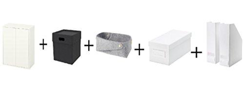 Ikea Cabinet with 2 doors and shelf whiteBox dark gray BasketBox with lid white Magazine file white