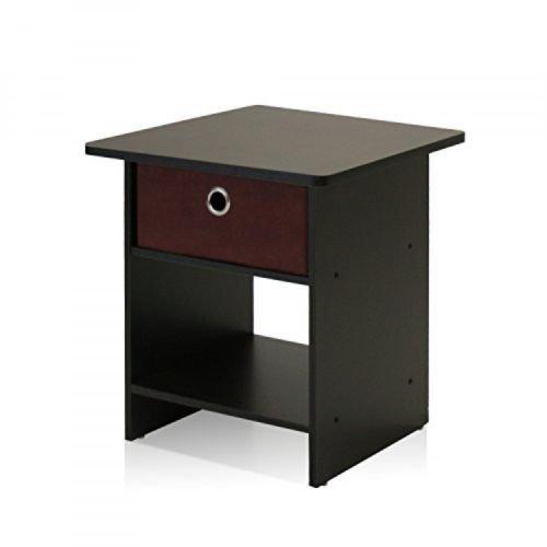 End TableNight Stand Storage Shelf with Bin Drawer Dark