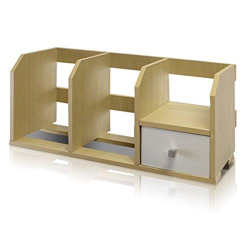 Furinno Pasir Beige Desk Storage Shelf with Bin Made of Medium-Density Fibreboard