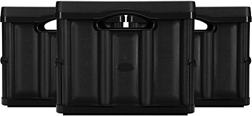 CleverMade CleverCrates 46 Liter Collapsible Storage BinContainer Solid Wall Utility BasketTote Black 3 Pack