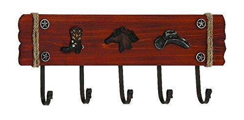 Stylish Cowboy Themed Wood and Metal Wall Hook