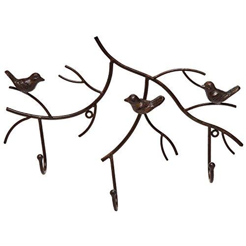 Wall Mounted Rustic Bronze Decorative Metal Tree Branch Design 3 Coat Hooks Storage Hanger Rack - MyGiftÂ