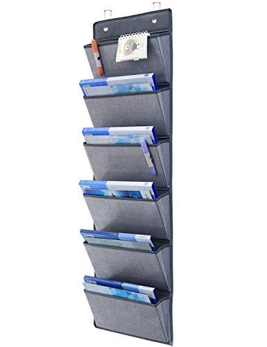 Onlyeasy Wall Mount Hanging File Folders - Over Door Hanging Storage Organizer Magazine Storage Holders for Notebooks Planners 50 x 13 6 Pockets Grey 8MXDZ06C