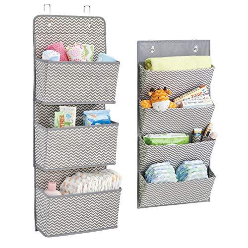 mDesign Soft Fabric Wall MountOver Door Hanging Storage Organizers - 3 4 Large Pockets for ChildKids Room or Nursery Hooks Included - Chevron Zig-Zag Print Set of 2 - GrayCream