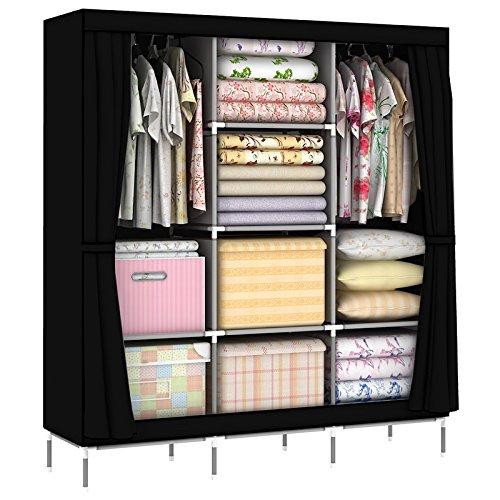 OUMYJIA 69 inches Non-Woven Fabric Organizer Portable Clothes Closet Wardrobe Storage 51L x 175W x 69H inches Black