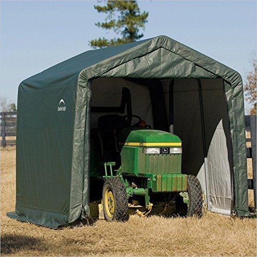 Shelterlogic Outdoor Garage Automotive Boat Car Vehicle Storage Shed 11x8x10 Peak Style Shelter Green Cover by Shelterlogic