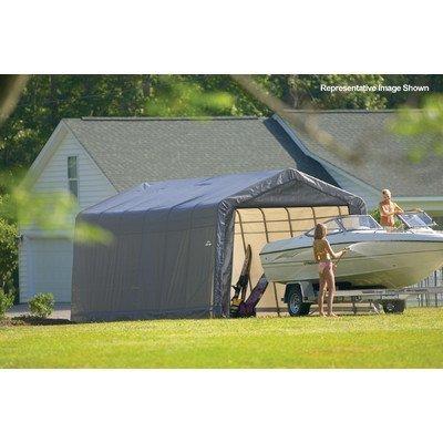 Shelterlogic Outdoor Garage Automotive Boat Car Vehicle Storage Shed 12x28x8 Peak Style Shelter Grey Cover by ShelterLogic