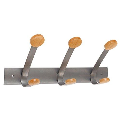 ALBA Wooden Coat Hook Three Wood Peg Wall Rack BrownSilver PMV3 by Alba