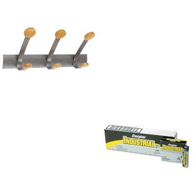 KITABAPMV3EVEEN91 - Value Kit - Alba Wooden Coat Hook ABAPMV3 and Energizer Industrial Alkaline Batteries EVEEN91