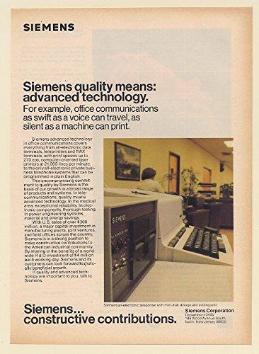 1979 Siemens Electronic Teleprinter Mini-Disk Storage Editing Unit Print Ad 66275