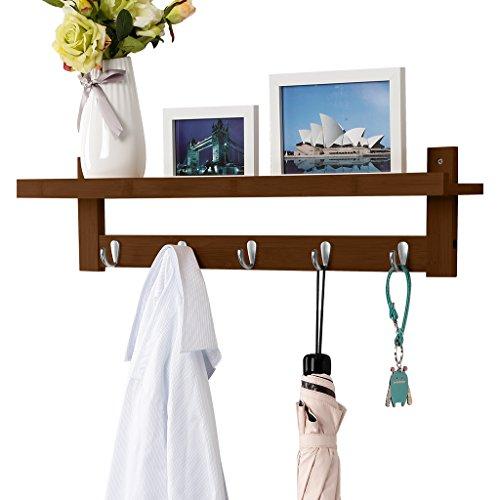 LANGRIA Coat Rack Shelf Coat Rack Wall-Mounted Bamboo Wooden Hook Rack with 5 Metal Hooks and Upper Shelf for Storage Scandinavian Style for Hallway Bathroom Living Room Bedroom Bamboo Brown Color