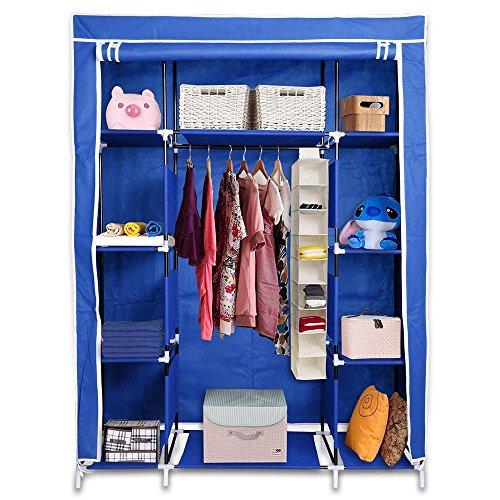 Yescom 50 Portable Closet Storage Organizer Clothes Shoe Non-woven Fabric Metal Frame Hanging Rod Rack Shelf Navy