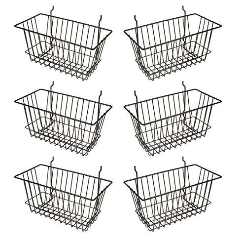 Econoco - Black Multi-Fit Narrow Wire Basket for Slatwall Pegboard or Gridwall Set of 6 Metal Semi-Gloss Basket Black