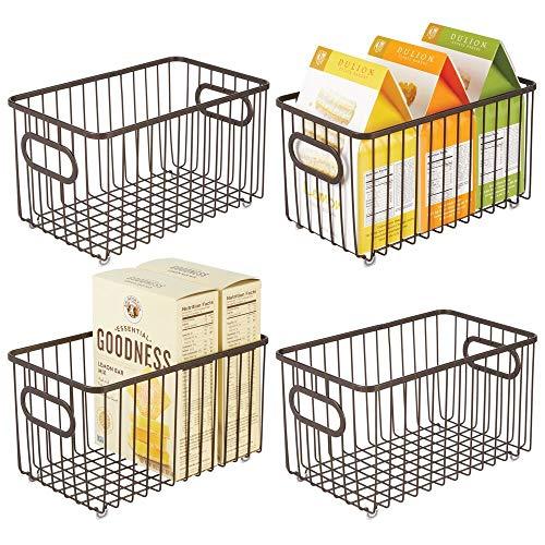 mDesign Metal Farmhouse Kitchen Pantry Food Storage Organizer Basket Bin - Wire Grid Design - for Cabinets Cupboards Shelves Countertops Closets Bedroom Bathroom - 10 Long 4 Pack - Bronze