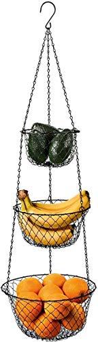 malmo 3-Tier Wire Fruit Hanging Basket Vegetable Kitchen Storage Basket Black