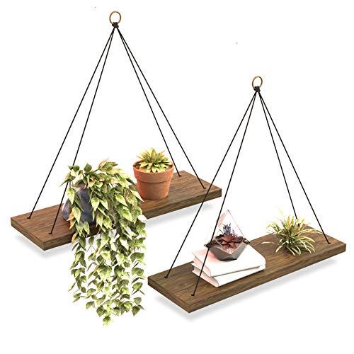 Boho Wall Hanging Shelf - Set of 2 Wood Hanging Shelves for Wall - Floating Shelves for Bedroom Living Room Bathroom - Rope Rustic Wood Shelves - Hanging Plant Shelf - Triangle Farmhouse Wood Shelves