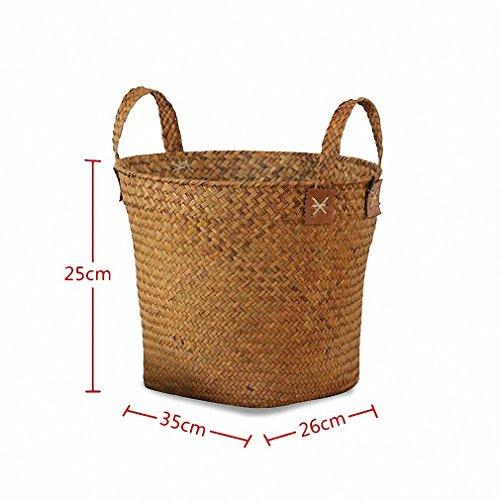Storage Basket Laundry Straw Seagrass Belly Handmade Organizer Garden Flower Pot 35X26X25cm