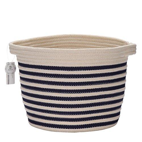 Sea Team 9 Natural Cotton Thread Woven Rope Storage Basket Bin Hamper with Handles for Nursery Kids Room Storage Navy Blue Stripe