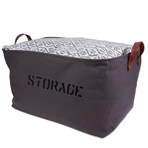 XXLARGE Gray Canvas Storage Basket 22LX 13H Storage Bin is perfect for organizing the Nursery Living room Bedroom Bathroom Playroom
