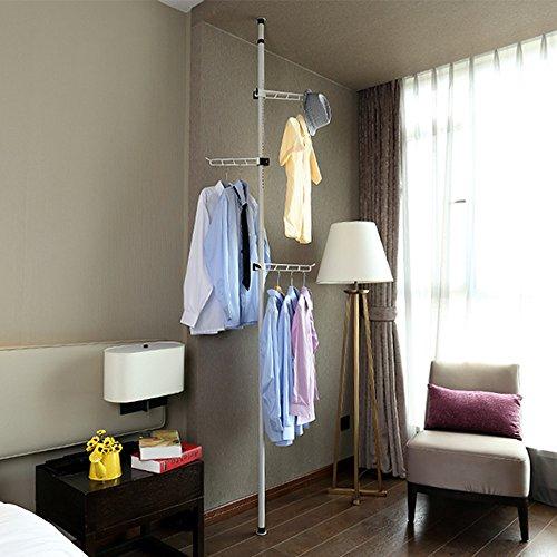 ALLZONE Exclusive Floor Standing Coat Hat Rack 43-122 3 360D Rotatable Hangers and 12 Hooks Steel NeverRust White