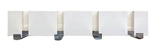 Headbourne 8049E 16 Modern White Wood Hook Rail  Coat Rack with 4 Chrome Flip Hooks