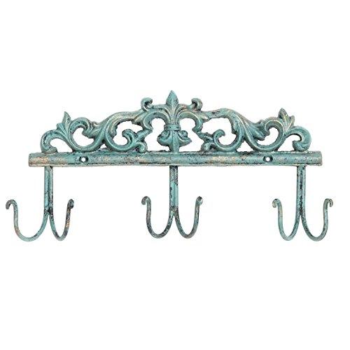 Vintage Style Rustic Turquoise Metal 6 Hook Coat Rack  Wall-Mounted Entryway Storage Hooks - MyGift