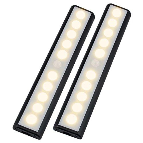 Wireless Motion Sensor Cabinet Light Wardrobe Closet LightsUSB Rechargeable 10 LED Cabinet LightingMagnetic Removable Stick-On Anywhere for WardrobeStairsClosetDrawerWarm White2 Pack