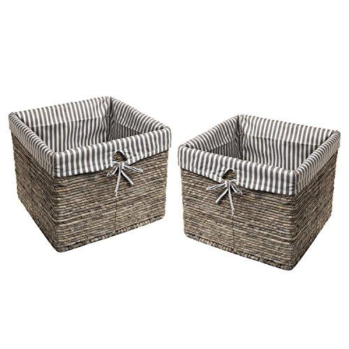 2 Gray Rattan Woven Stripe Fabric Lined Laundry  Magazine  Home Storage Basket