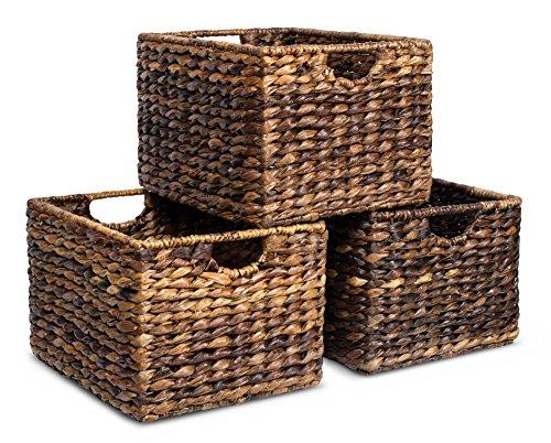 BIRDROCK HOME Woven Storage Shelf Organizer Baskets with Handles - Set of 3 - Abaca Wicker Basket - Pantry Living Room Office Bathroom Shelves Organization - Under Shelf Basket - Handwoven Espresso
