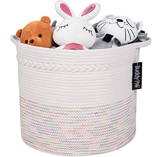 Baby Toy BasketLaundry BasketBlanket Basket 17 X 15 - Nursery HamperCotton Rope Storage BasketOff White Decorative Woven Storage Basket with Handle for Pillows Kids Living Room by Buddy Pro