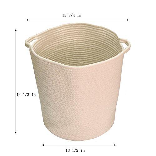 Cotton Rope Woven Storage Baskets with Handles Clothes Hamper Toys Nursery Bins Closet Organization 15 34x 14 12 Beige