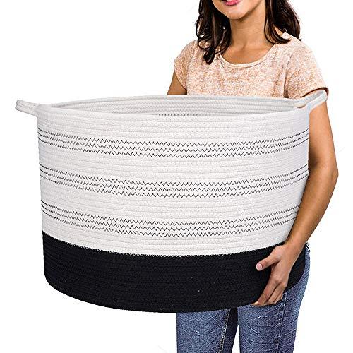 Extra Large Storage Basket - 22 X 22X 14 XXXL Extra Large Toy Storage Basket - Woven Laundry Basket with Handles - Extra Large Decorative Basket for BlanketsRoundSoftfor Kids Living Room