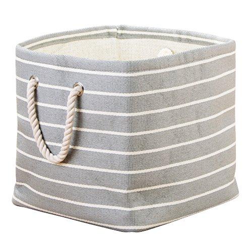 InterDesign Luca Woven Paper Cotton Soft Storage Cube for Blankets Pillows - GrayCream